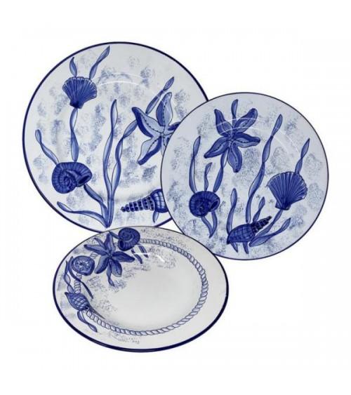 Sea Life Dishes Service For 4 People - Ceramica Deruta