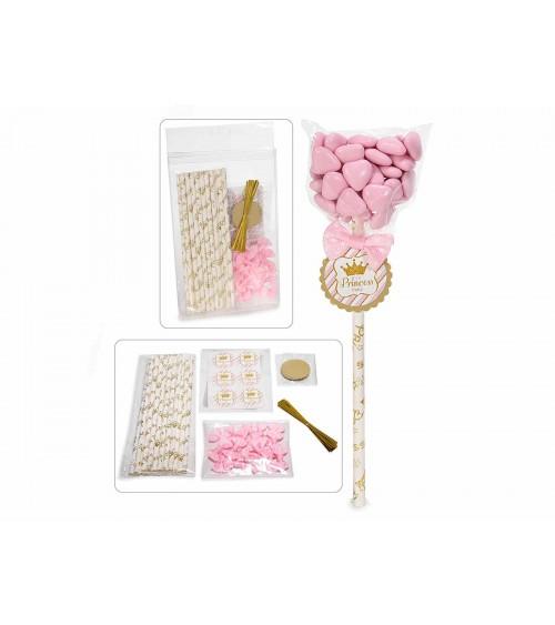 Kit de faveur avec bâton, étiquette et nœud rose