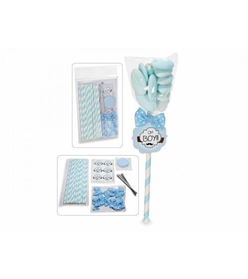 Kit de faveur avec bâton, étiquette et nœud bleu