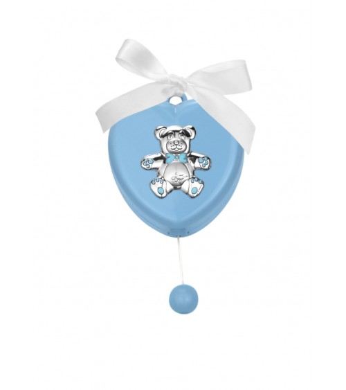 Favor Baptism Argenti Fantin - Music Box to Hang Heart with Teddy Bear