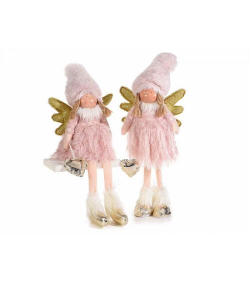 Coppia di Angeli in Eco Fur con Pendente Cuore Dorato - 1 -