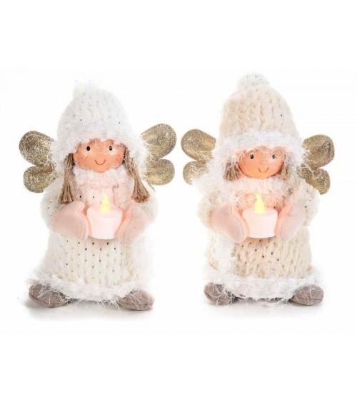 Angeli delle Nevi in Morbida Stoffa con Tea light a Batteria - 2 Pezzi