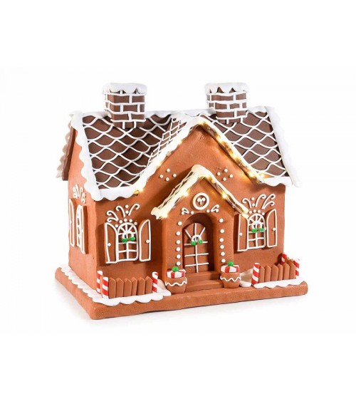 """""""Gingerbread"""" House in Opaque Resin Paste with Lights"""