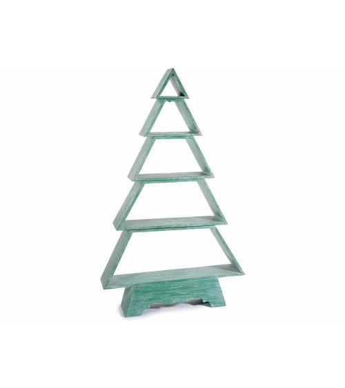 Albero di Natale in Legno Verde Spazzolato con 5 Mensole