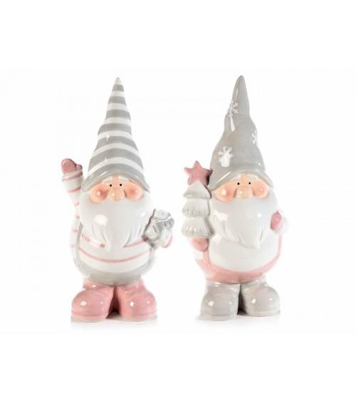 Babbo Natale Pancione in Ceramica Colorata - 2 Pezzi