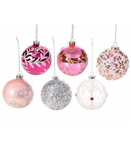 Boules en verre colorées avec décorations à paillettes et paillettes - Set de 12 pièces