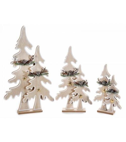 Set 3 Alberi di Natale in Legno con Stelle Dorate e Pigne