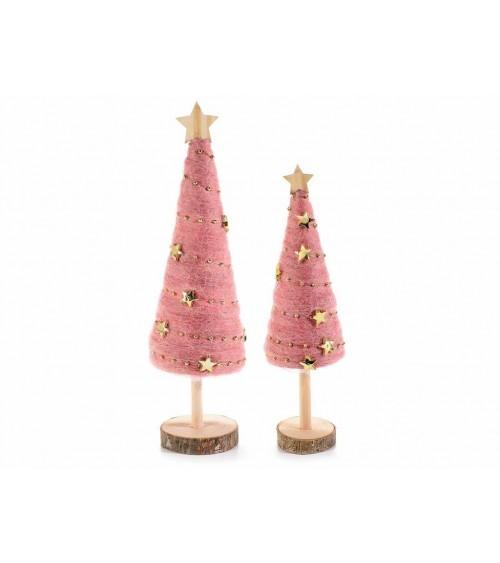 Set 2 Alberi di Natale in Legno e Lana con Stelle Dorate