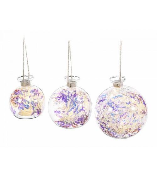 Boules de Noël en verre avec feston arc-en-ciel et lumières LED suspendues - 3 pièces
