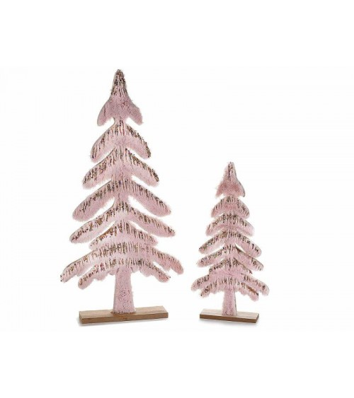 Set 2 Alberi di Natale in Legno e Eco - Fur Rosa con Glitter  Oro