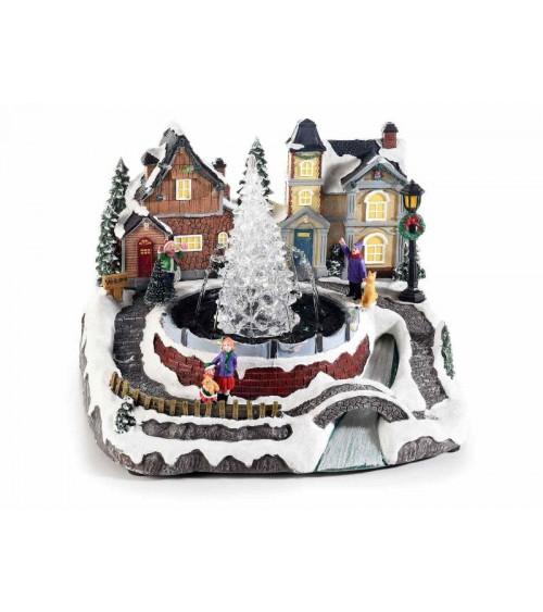 Paysage de Noël en résine avec lumières multicolores, Fontaine et Musique