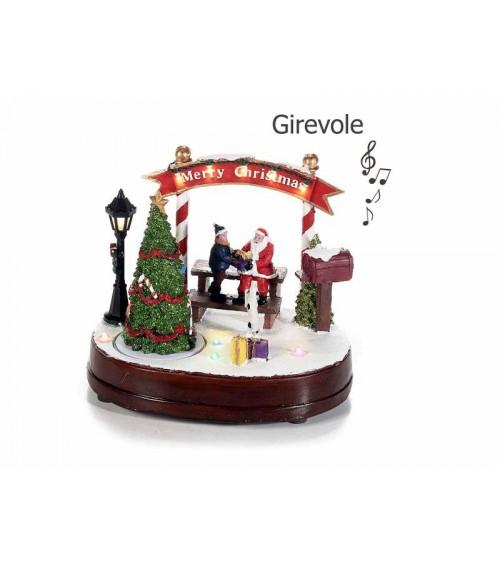 Paesaggio di Natale con Luci Bianco Caldo, Musica e Movimento