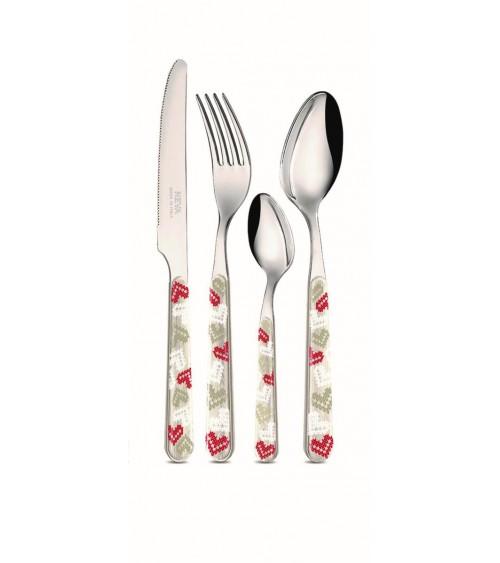 Shabby Christmas Cutlery Set 24pcs Decoration with Hearts - Neva Creative Cutlery - 1