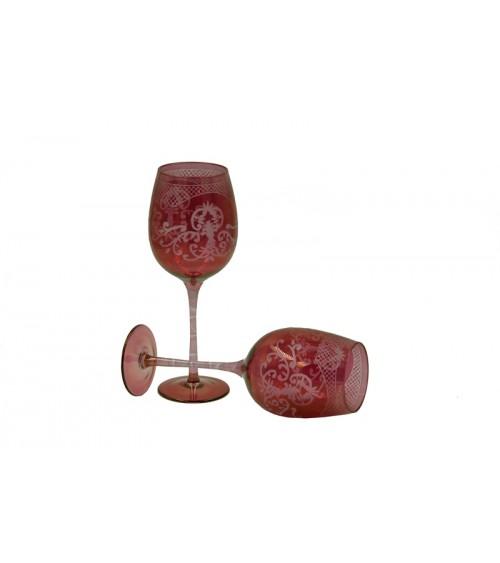 Set of 4 Red Engraved Tasting Glasses - Royal Family - 1