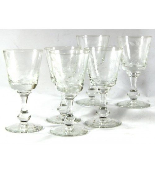 Set of 6 Wine Glasses in Transparent Crystal with Floral Decor - Royal Family