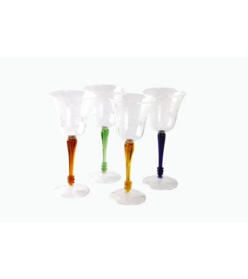 Set 4 Bicchieri Vino in Vetro Soffiato con  Gambo Colorato e Incisione Rose - Royal Family