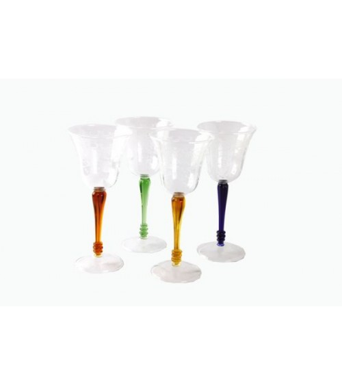 Set of 4 Wine Glasses in Blown Glass with Colored Stem and Rose Engraving - Royal Family