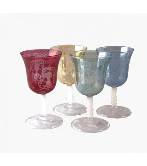 Set 4 Bicchieri Bassi in Vetro Soffiato Colorato e Incisione Firenze - Royal Family