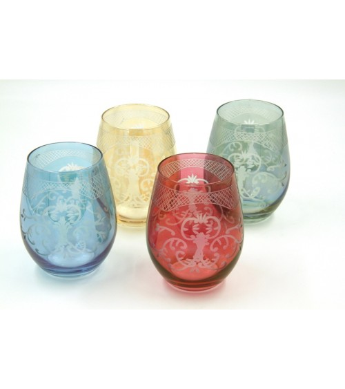 Set of 4 Large Tasting Glasses in Colored Blown Glass and Engraving - Royal Family