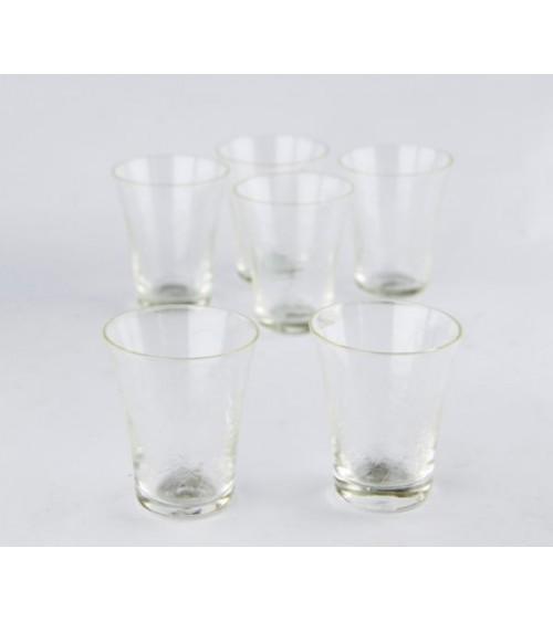 Set 6 Bicchieri Acqua in Cristallo Trasparente Molato a Mano e Incisione Floreale  - Royal Family