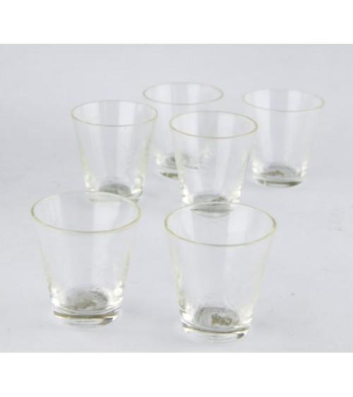 Set 6 Bicchieri Vino in Cristallo Trasparente Molato a Mano e Incisione Floreale  - Royal Family