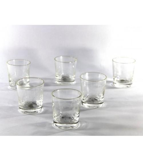 Set 6 Bicchieri Liquore in Cristallo Trasparente Molato a Mano e Incisione Floreale  - Royal Family