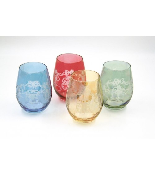 Set of 4 Large Tasting Glasses in Colored Blown Glass and Bow Engraving - Royal Family