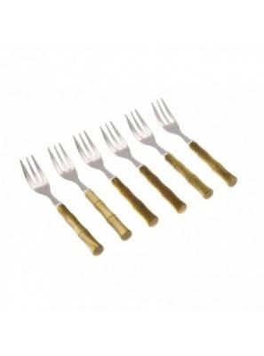 cake fork olive green Bambù