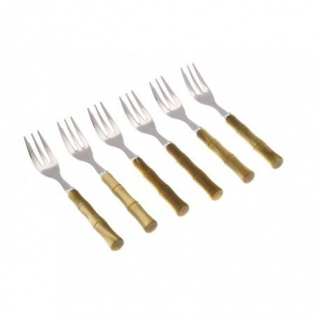 Set 6pcs cake fork Bamboo - Rivadossi Sandro - olive green