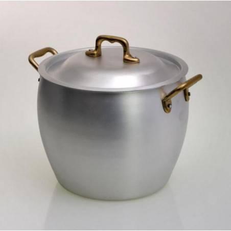 pot en aluminium arrondi avec couvercle et poignées en laiton