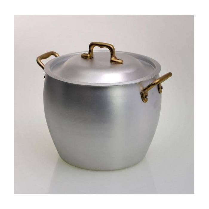 Rounded Aluminum Pan with Brass Handles - 1