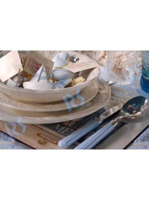 Posate Colorate Country a Quadretti - Set 4pz Naif Pic Nic - Rivadosi Sandro - Colore azzurro