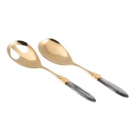 Posate Oro Rivadossi Sandro - modello Laura set 2 pezzi insalata - Colorea grigio chiaro