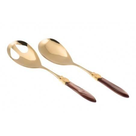 Posate di lusso Oro Rivadossi Sandro - modello Laura set 2 pezzi insalata - Colore marrone