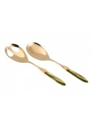 Posate Oro di lusso Rivadossi Sandro - modello Laura set 2 pezzi insalata - Colore verde oliva