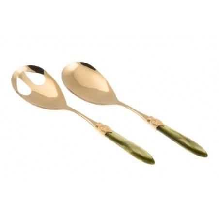 Posate Oro Rivadossi Sandro - modello Laura set 2 pezzi insalata - Colore verde oliva
