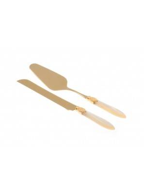 Gold / PVD cutlery - Cake and cake knife Laura et 2 Pezzi - Rivadossi Sandro - Pearly handle - ivory color