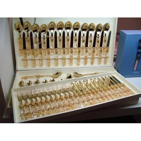 bauletto regalo posate oro 75 pezzi