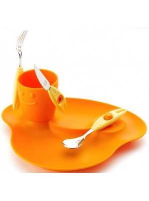 Party set 5pz Pappa, piatto, bicchiere e tre posatine - Rivadossi Sandro - arancio
