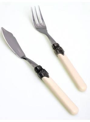 Classic forchetta e coltello pesce - colore avorio - posate country chic - Shabby chic