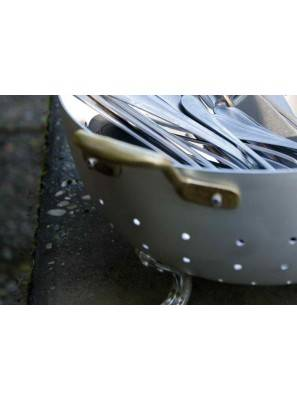 Aluminum colander with two brass handles - Rivadossi Sandro - Made in Italy