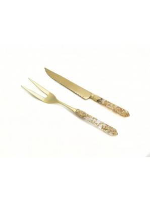 Luna Gold - Carving Set 2-teilig - Tranchiermesser und Tranchiergabel - Rivadossi Sandro