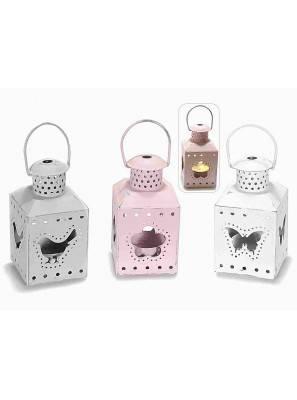Lanterne Portacandela Tea-Light in Metallo con Decorato Intagliato - Set 3 Pezzi