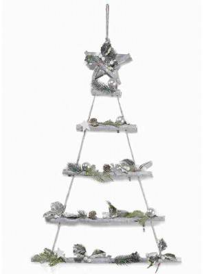 Wooden Christmas tree to hang with Stella and snow-covered decorations