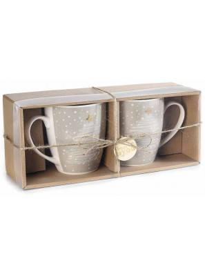 Frühstückstassen mit Weihnachtsdekor aus Porzellan - Set 2-tlg