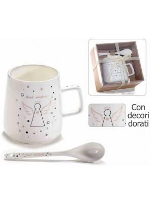 Tasses avec cuillère à thé en porcelaine - ange design et décorations dorées - 2 pièces