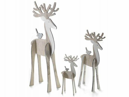 set 3 pezzi Renne di Natale in legno beige