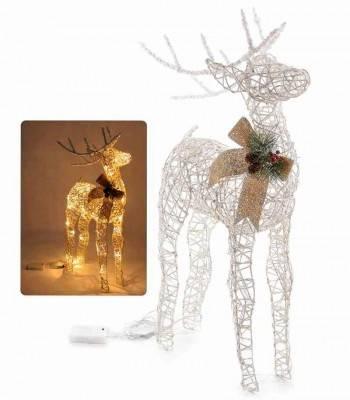 Renna in Rattan con Luci Led,  Fiocco e glitter - Decorazione di Natale