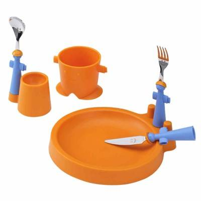 Club Set 6Pz Children's Meal - Plate, Glass, Egg Cup and 3 Cutlery - Rivadossi Sandro - orange