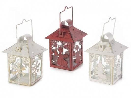 Set 3 Stück Weihnachtslaternen im Kerzenhalter aus Metall